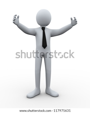 3d illustration of happy person welcomming. 3d rendering of human businessman character. - stock photo