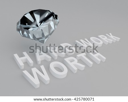 """3D illustration of """"HARD WORK WORTH"""" title with a diamond as a background. Work concept. - stock photo"""