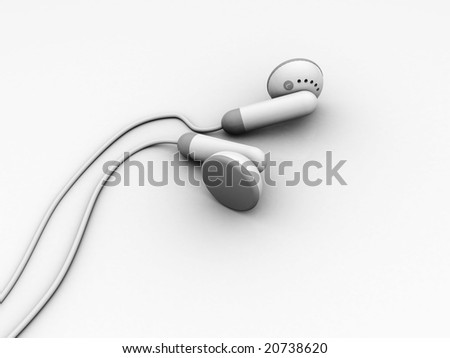 3d illustration of headphones over white background