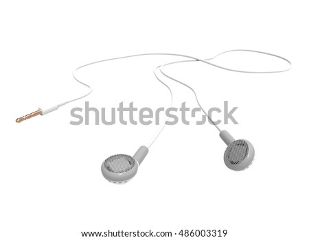 3d illustration of headphones. white background isolated. icon for game web.