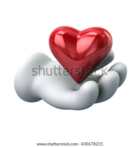 3d illustration of heart in hand isolated on white background - stock photo