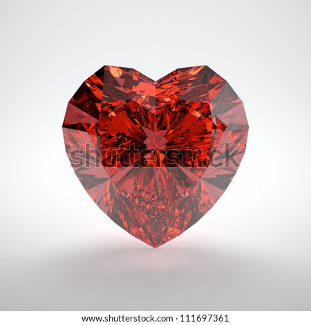3D illustration of heart shaped ruby on white background - stock photo