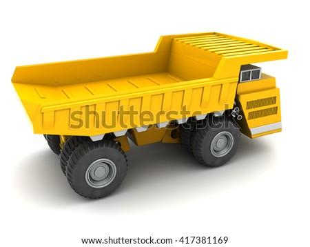 3d illustration of heavy dumper over white background - stock photo