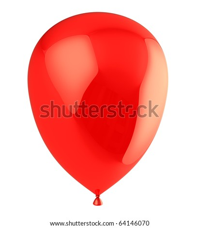 3d illustration of helium balloon isolated over white background