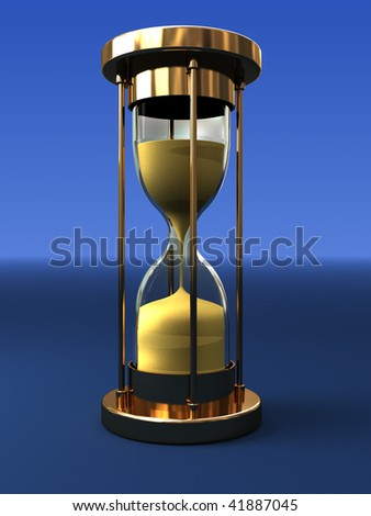 3d illustration of hourglass over blue gradient background - stock photo