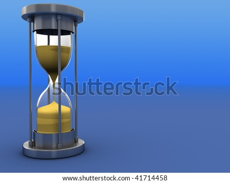 3d illustration of hourglass over gradient blue background - stock photo