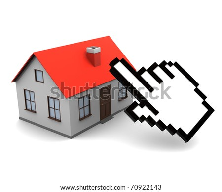 3d illustration of house and cursor, online real estate trading concept - stock photo