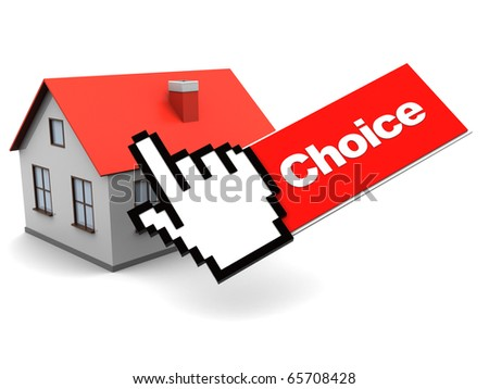 3d illustration of house and mouse cursor, internet real estate choice concept - stock photo