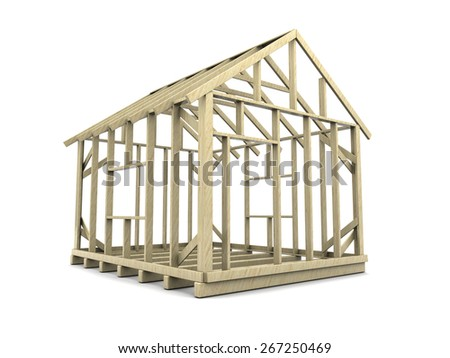 3d illustration of house frame over white background - stock photo