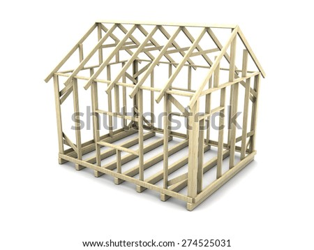 3d illustration of house frame project over white background - stock photo