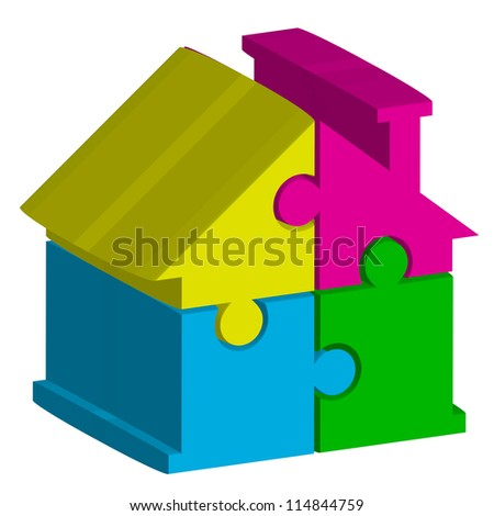 3d illustration of house from puzzles - stock photo