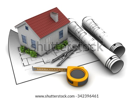 3d illustration of house model and blueprint, over white background - stock photo