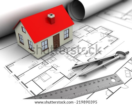 3d illustration of house model and blueprints - stock photo