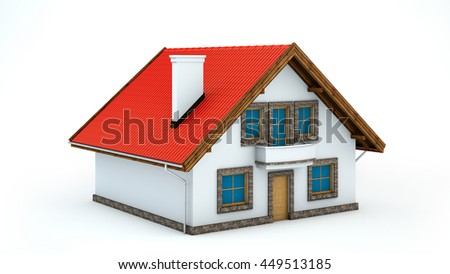 3D illustration of house on white background