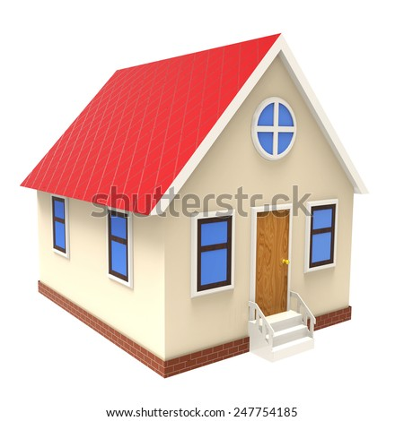3d illustration of house over white background - stock photo