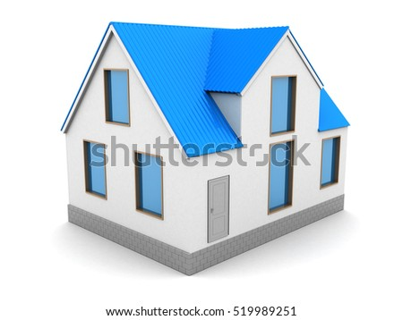 3d illustration of house over white background