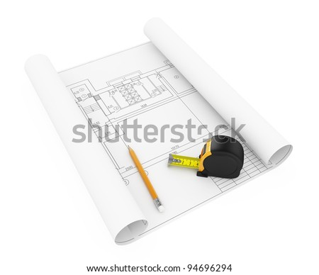 3d illustration of house plan with tape measure and pencil - stock photo