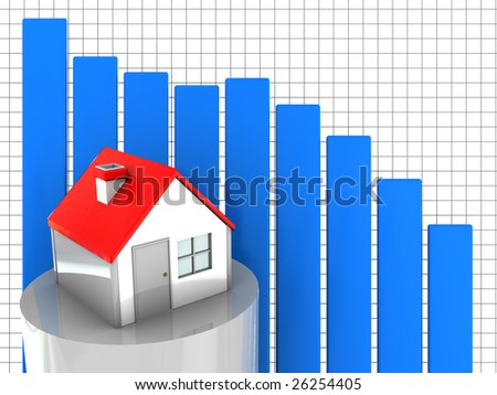 3d illustration of house prices diagram fall down - stock photo