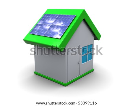 3d illustration of house symbol with solar panels, over white background - stock photo