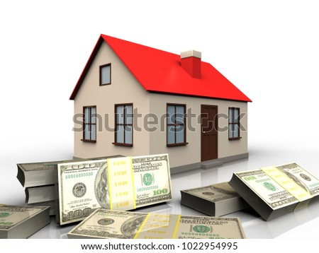 3d illustration of house with banknotes over white background