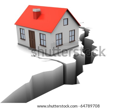 3d illustration of house with crack in ground, earthquake concept