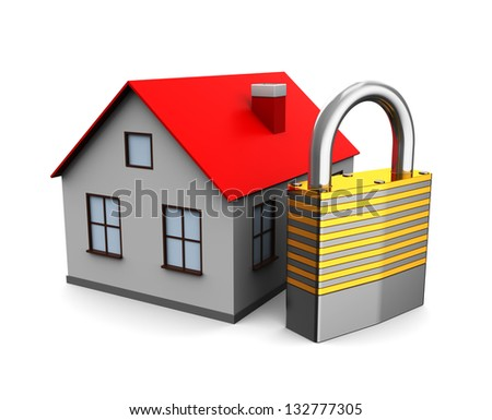 3d illustration of house with lock, over white background - stock photo