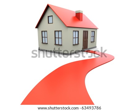 3d illustration of house with red carpet road, over white background