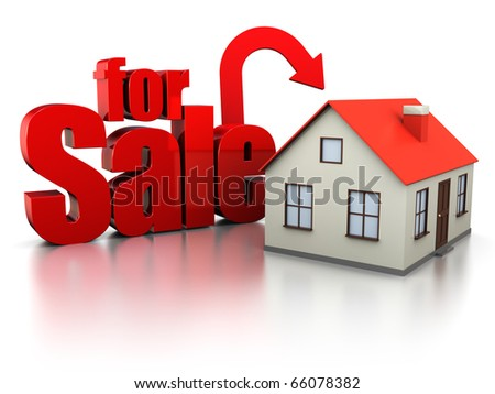 3d illustration of house with sign 'for sale', over white background - stock photo