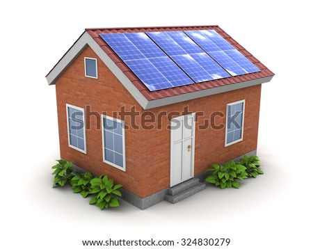 3d illustration of house with solar panel on roof - stock photo