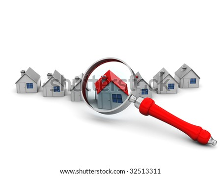 3d illustration of houses and magnify glass over white background - stock photo