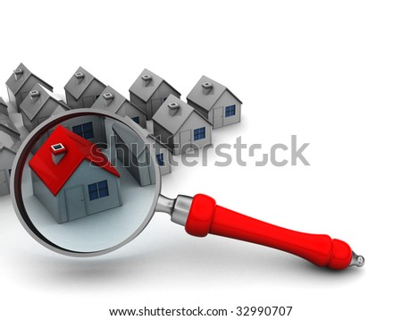 3d illustration of houses and magnify glass, search for home symbol - stock photo