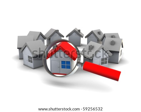 3d illustration of houses ring and magnify glass, search for home concept - stock photo