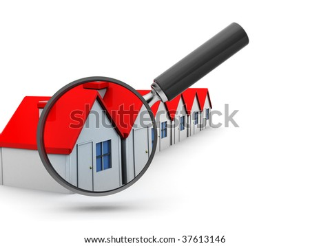 3d illustration of houses row and magnify glass - stock photo