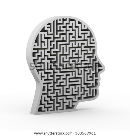 3d illustration of human face shape maze puzzle labyrinth - stock photo