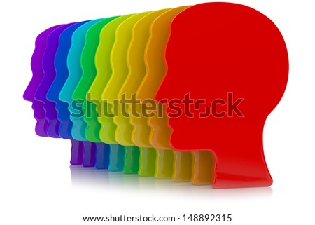 3d illustration of human head silhouette with rainbow colors - stock photo