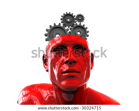 3d illustration of human head with gear wheels inside - stock photo