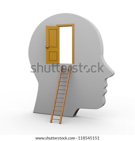 3d illustration of human head with open door and ladder. - stock photo