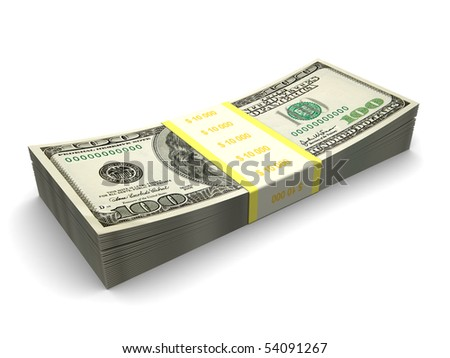 3d illustration of hundred dollar stack over white background - stock photo