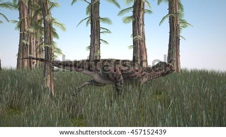 3d illustration of hunting majungasaurus - stock photo