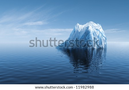 3d illustration of Iceberg under water as concept of GLOBAL WARMING - stock photo