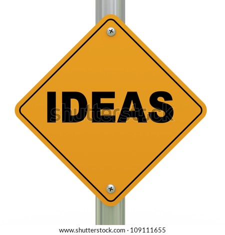 3d Illustration of ideas road sign - stock photo