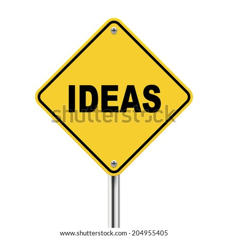 3d illustration of ideas road sign  isolated on white background - stock photo