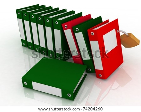 3D  illustration of image of folders and folder with a secret