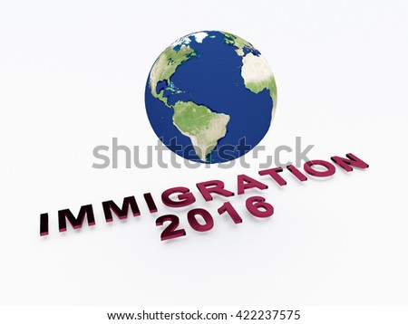 "3D illustration of ""IMMIGRATION 2016"" script , under a 3D illustration of the world. Elements of this image furnished by NASA. Earth concept."