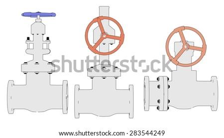2d illustration of industrial valves - stock photo