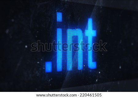 3d illustration of int domain names and internet concept digital screen  - stock photo