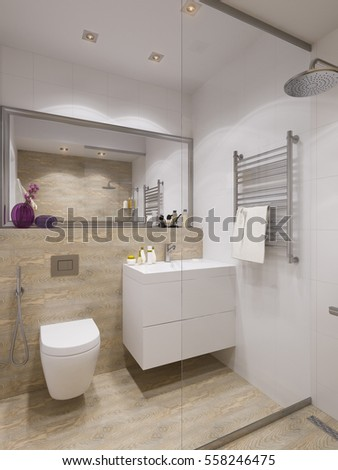 3d illustration of interior design bathroom with a tile woodgrain