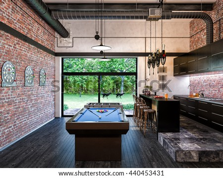 "3d illustration of interior design loft style kitchen and livingroom. The concept of commercial interiors ""My room"" for gatherings with friends and Leisure.  - stock photo"