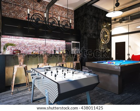 3d Illustration Of Interior Design Loft Style The Concept Of Commercial Interiors My Room