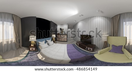 3d illustration of interior design spherical 360 degrees, seamless panorama  of bedroom